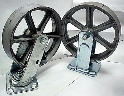 New-8-X2-silver-brand-cast-iron-steel-casters-image-No